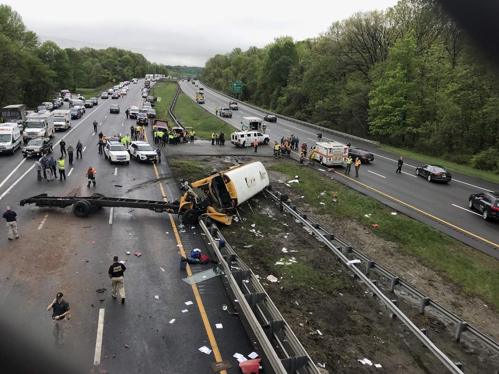 Multiple deaths after school bus collides with dump truck in New Jersey